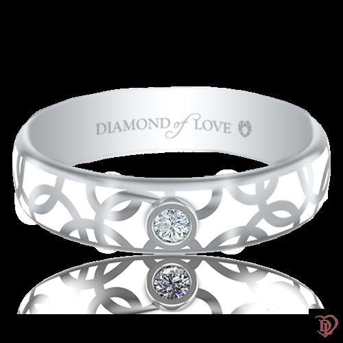 <p>Обручка в білому золоті зі вставками: діаманти, емаль</p>  0017453