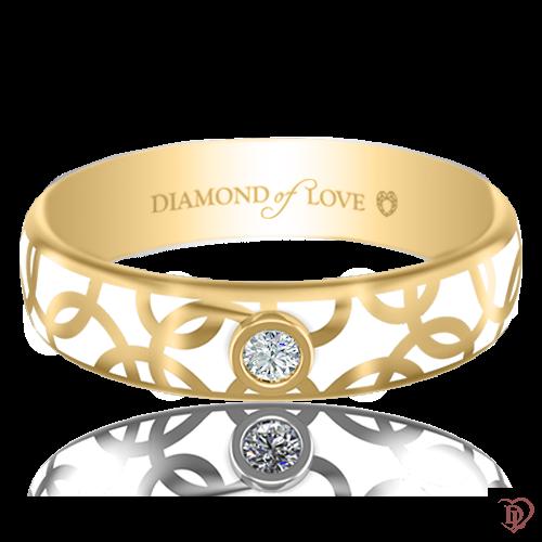 <p>Обручка в жовтому золоті зі вставками: діаманти, емаль</p>  0017454