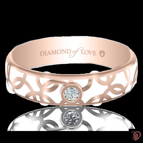 <p>Обручка в рожевому золоті зі вставками: діаманти, емаль</p>  0017457