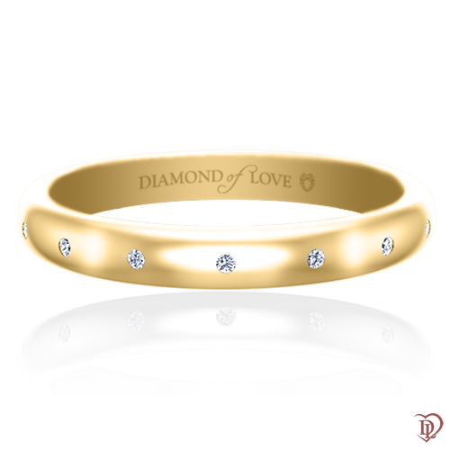 <p>Обручальное кольцо в желтом золоте со вставками: бриллианты</p>  0017464