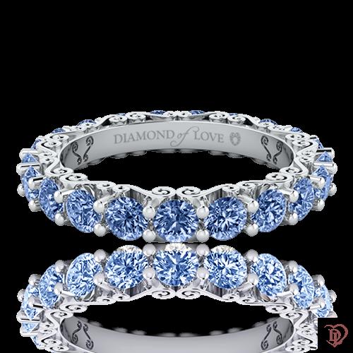 <p>Обручальное кольцо в белом золоте со вставками: сапфиры</p>  0020133