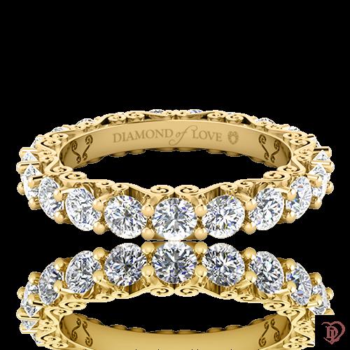 <p>Обручальное кольцо в желтом золоте со вставками: бриллианты</p>  0020134