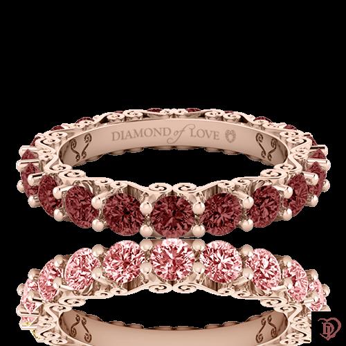 <p>Обручка в рожевомузолоті зі вставками: рубіни</p>  0020137