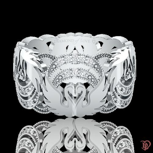 <p>Обручка в білому золоті зі вставками: діаманти</p>  <p>Ажурна обручка з діамантами в білому золоті Вірність: Відродження - дивовижна краса застигла в золоті. Колекція підкорює рельєфним орнаментом, тонкістю роботи і бездоганною якістю. Ключовим елементом даної моделі стала граційна пара закоханих лебедів, що символізує чисту любов і відданість. Чудова прикраса і незмінний символ союзу любові - продовження пам'ятної події, історії. Для завершення образу до обручці можна підібрати сережки і підвіс.</p>  0021083