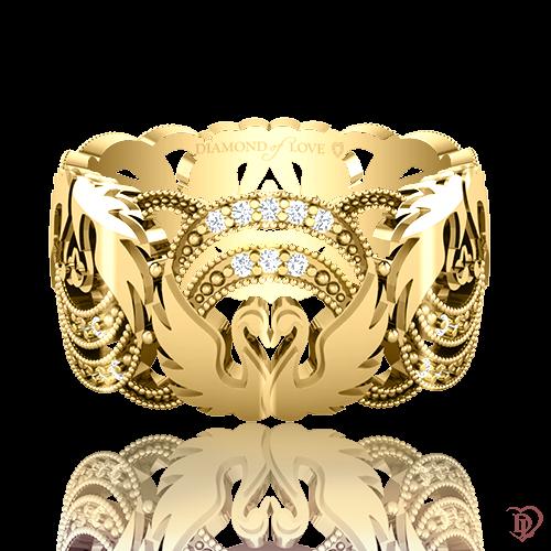 <p>Обручка в жовтому золоті зі вставками: діаманти</p>  <p>Ажурна обручка з діамантами в жовтому золоті Вірність: Відродження - дивовижна краса застигла в золоті. Колекція підкорює рельєфним орнаментом, тонкістю роботи і бездоганною якістю. Ключовим елементом даної моделі стала граційна пара закоханих лебедів, що символізує чисту любов і відданість. Чудова прикраса і незмінний символ союзу любові - продовження пам'ятної події, історії. Для завершення образу до обручці можна підібрати сережки і підвіс.</p>  0021084