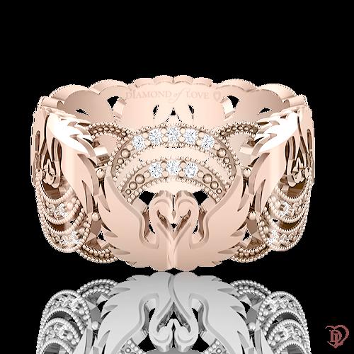 <p>Обручка в рожевому золоті зі вставками: діаманти</p>  <p>Ажурна обручка з діамантами в рожевому золоті Вірність: Відродження - дивовижна краса застигла в золоті. Колекція підкорює рельєфним орнаментом, тонкістю роботи і бездоганною якістю. Ключовим елементом даної моделі стала граційна пара закоханих лебедів, що символізує чисту любов і відданість. Чудова прикраса і незмінний символ союзу любові - продовження пам'ятної події, історії. Для завершення образу до обручці можна підібрати сережки і підвіс.</p>  0021087