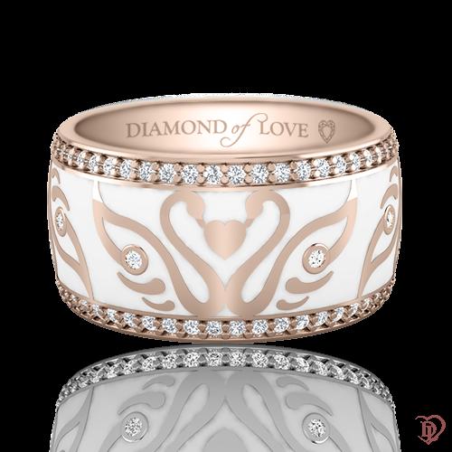 <p>Обручка в рожевому золоті зі вставками: діаманти, емаль</p>  <p>Обручка колекції Вірність: Відродження з рожевого золота в поєднанні з розсипом блискучих діамантів і дорогоцінною емаллю - чистої води досконалість. Для жіночої моделі дизайнери вибрали білу емаль. Пара закоханих лебедів, яка розташувалася на кільці, має не тільки привабливий зовнішній вигляд, але і володіє сакральним змістом. Про лебедину вірність відомо з давніх-давен, про неї складено безліч романсів і балад, тому не дивно, що саме вони є покровителями сімейного щастя. Пара обручок даної колекції стане символом вірності і оберегом вашої любові.</p>  0021107