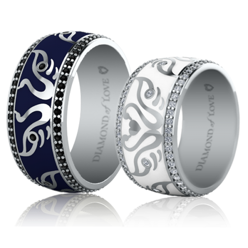 <p>Обручка в білому золоті з вставками: діаманти, емаль</p>  <p>Чоловіча обручка з білого золота колекції Вірність: Відродження, відображає і доповнює жіночу. Для додання кільцю чоловічого характеру, дизайнери, вибрали стримані тони і лаконічні форми. У ньому продумана до дрібниць кожна деталь. Наприклад, темно-синя емаль символізує сталість, стабільність, задоволеність життям, чорні діаманти - міцність відносин, а лебедина пара, яка стала першою скрипкою в даній моделі - щасливий союз. Колір золотої оправи також має своє значення. Біле золото - достаток, рожеве - вічна любов, жовте - відданість. Обручки наділені таким глибоким змістом і символізмом, точністю і яскравою індивідуальністю, безумовно найкращим чином продемонструють унікальність вашої пари.</p>  0021123