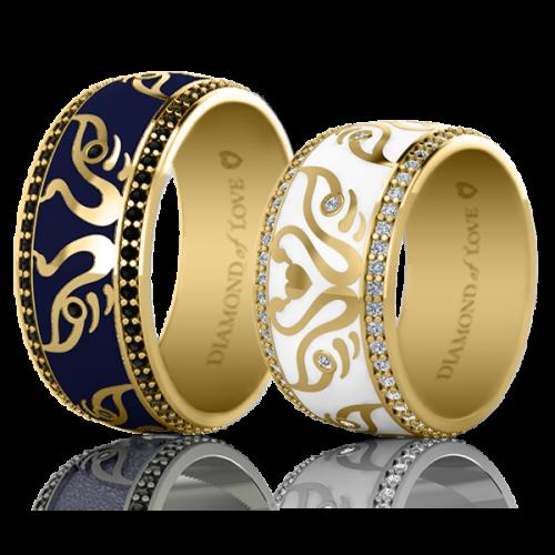<p>Обручка в жовтому золоті з вставками: діаманти, емаль</p>  <p>Чоловіча обручка з жовтого золота колекції Вірність: Відродження, відображає і доповнює жіночу. Для додання кільцю чоловічого характеру, дизайнери, вибрали стримані тони і лаконічні форми. У ньому продумана до дрібниць кожна деталь. Наприклад, темно-синя емаль символізує сталість, стабільність, задоволеність життям, чорні діаманти - міцність відносин, а лебедина пара, яка стала першою скрипкою в даній моделі - щасливий союз. Колір золотої оправи також має своє значення. Біле золото - достаток, рожеве - вічна любов, жовте - відданість. Обручки наділені таким глибоким змістом і символізмом, точністю і яскравою індивідуальністю, безумовно найкращим чином продемонструють унікальність вашої пари.</p>  0021124