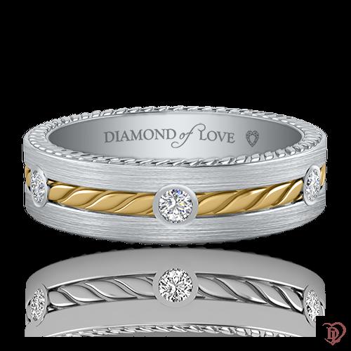 Обручка в білому золоті зі вставками: діаманти 0021153