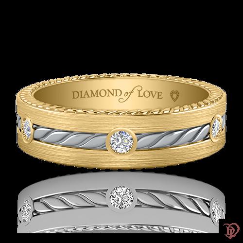 Обручка в жовтому золоті зі вставками: діаманти 0021154