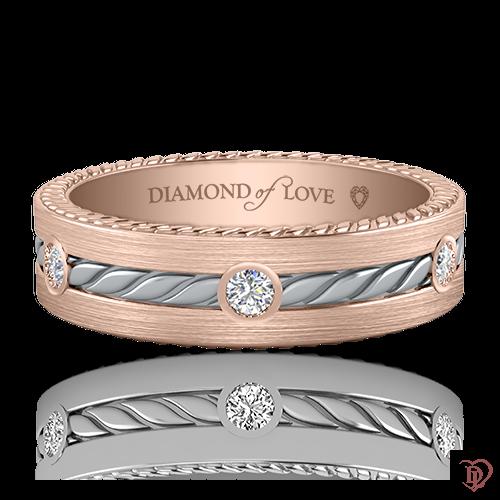 Обручка в рожевому золоті зі вставками: діаманти 0021157