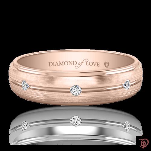 <p>Обручка в рожевому золоті зі вставками: діаманти</p>  0021237