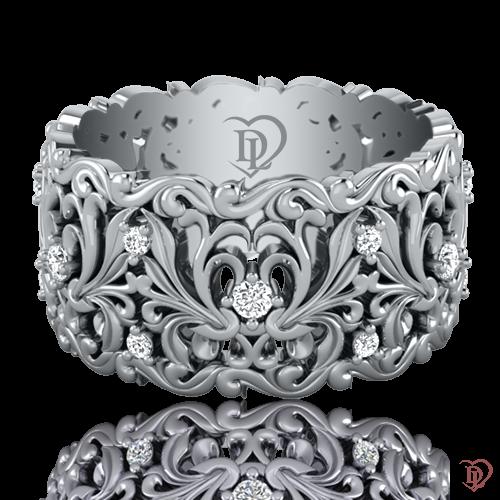 Обручальное кольцо в белом золоте со вставками: бриллианты 0021603