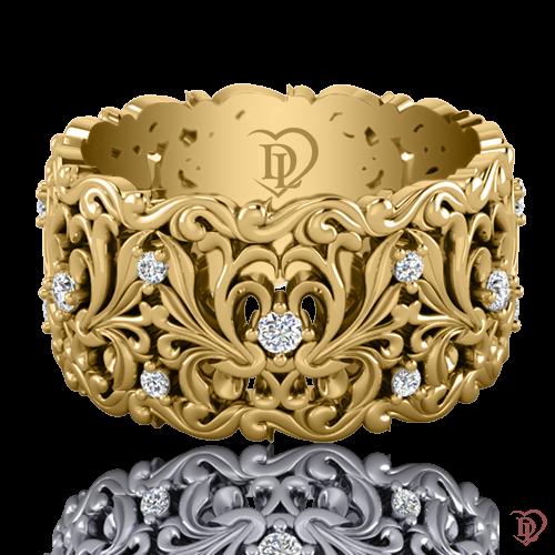 Обручальное кольцо в желтом золоте со вставками: бриллианты 0021604