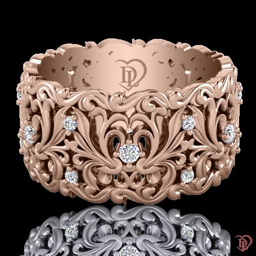 Обручальное кольцо в розовом золоте со вставками: бриллианты 0021607