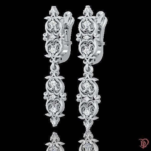 <p>Серьги в белом золоте со вставками: бриллианты</p>  0021673