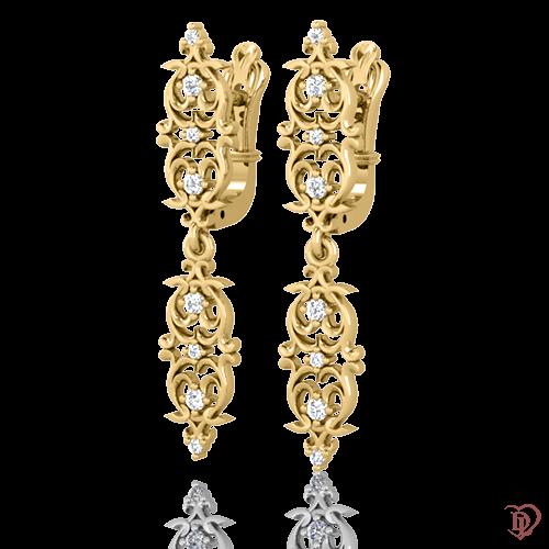 <p>Сережки в жовтому золоті зі вставками: діаманти</p>  0021674