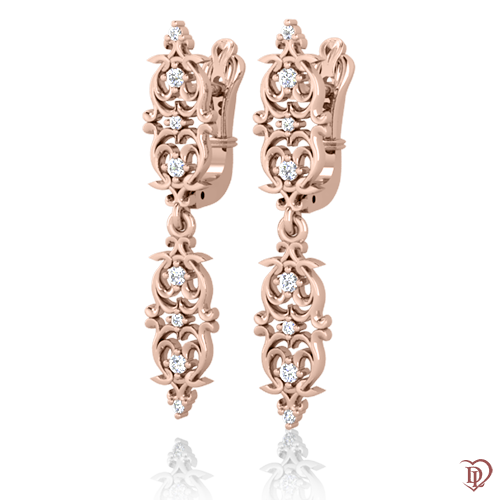 <p>Сережки в рожевому золоті зі вставками: діаманти</p>  0021677
