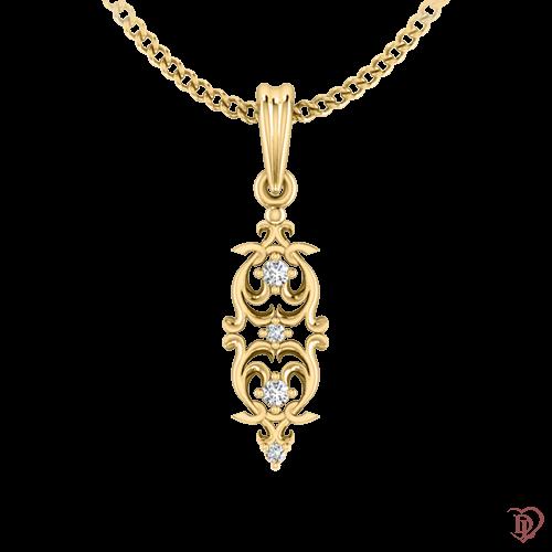 <p>Подвес в желтом золоте со вставками: бриллианты</p>  0021684