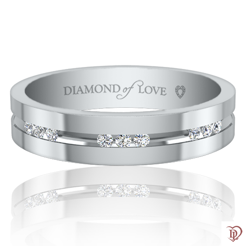 Обручальное кольцо в белом золоте со вставками: бриллианты 0021743