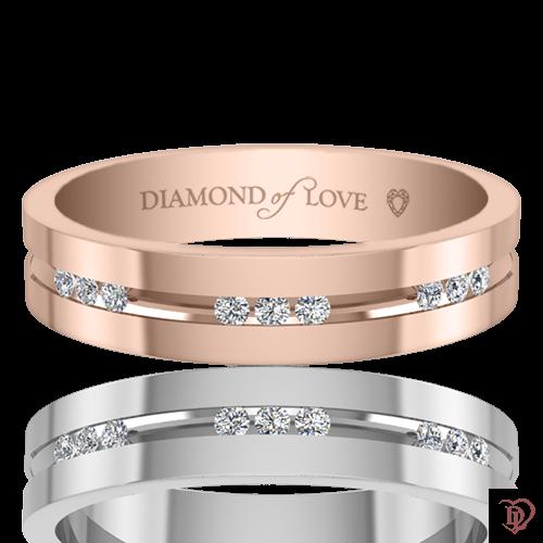 Обручальное кольцо в розовом золоте со вставками: бриллианты 0021747