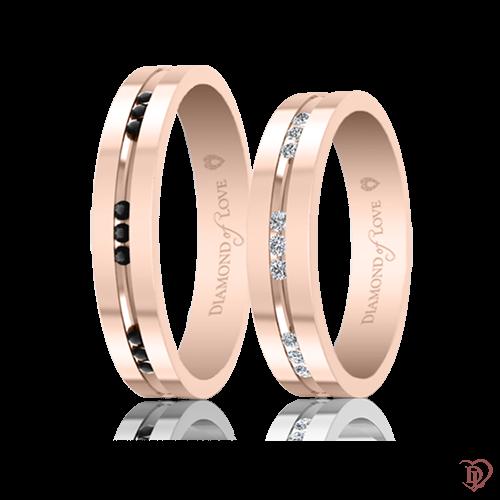 Обручальное кольцо в розовом золоте со вставками: бриллианты 0021757