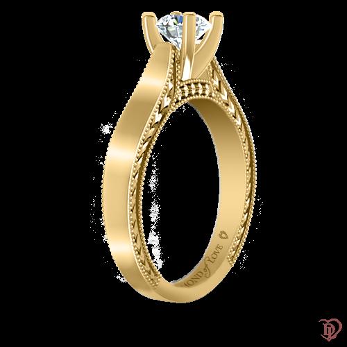<p>Каблучка в жовтому золоті зі вставками: діаманти</p>  0021964