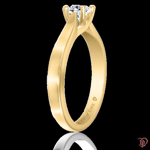 <p>Каблучка в жовтому золоті зі вставками: діаманти</p>  0021974