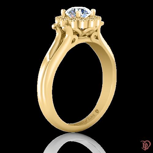 <p>Каблучка в жовтому золоті зі вставками: діаманти</p>  0021984