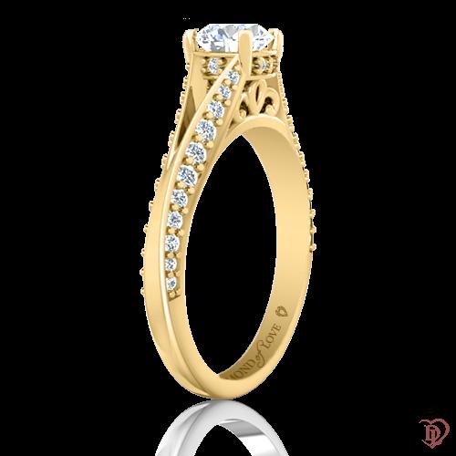 <p>Каблучка в жовтому золоті зі вставками: діаманти</p>  0021994