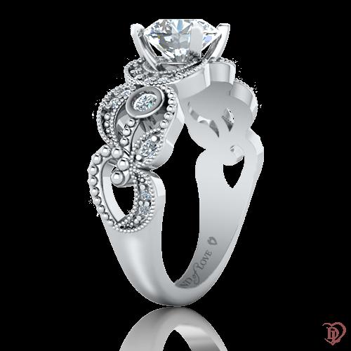 <p>Каблучка в білому золоті зі вставками: діаманти</p>  0022043