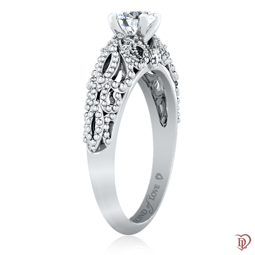 <p>Каблучка в білому золоті зі вставками: діаманти</p>  0022053