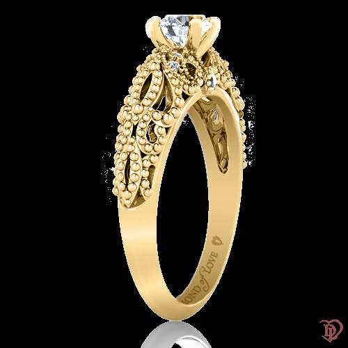 <p>Каблучка в жовтому золоті зі вставками: діаманти</p>  0022054
